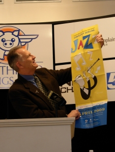 4/15/09-Burlington Mayor Bob Kiss showing off the new Smithsonian National Jazz Month poster