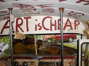 inside the art bus
