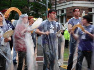 Taiko drummers: rain, no rain. No matter.