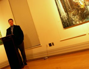 Dan Fogel with Jean-Pierre Roy's painting